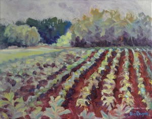 "Jennifer Newyear oil painting ""The Corn Grows While the Cicadas Sing"" 11"" H x 14"" W"