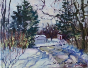 """Across the Road"" a Plein Air oil painting, 11"" x 14"", completed on site outside at home by Jennifer Newyear."